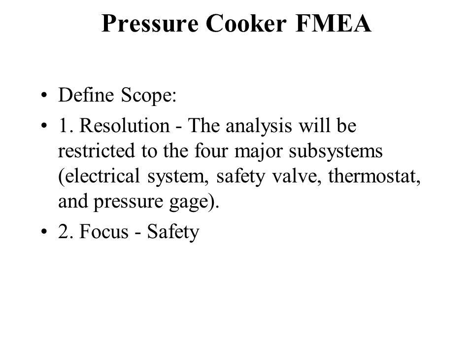 Pressure Cooker FMEA Define Scope: