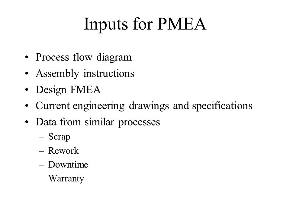 Inputs for PMEA Process flow diagram Assembly instructions Design FMEA