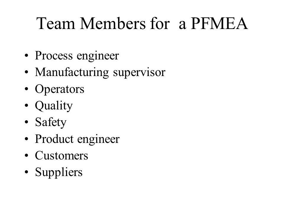 Team Members for a PFMEA