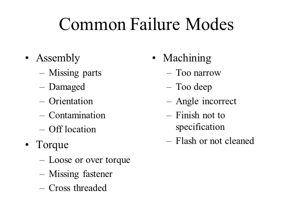 Common Failure Modes Assembly Torque Machining Missing parts Damaged