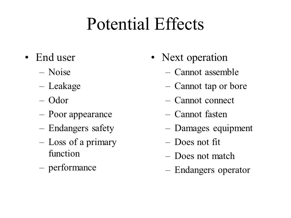 Potential Effects End user Next operation Noise Leakage Odor