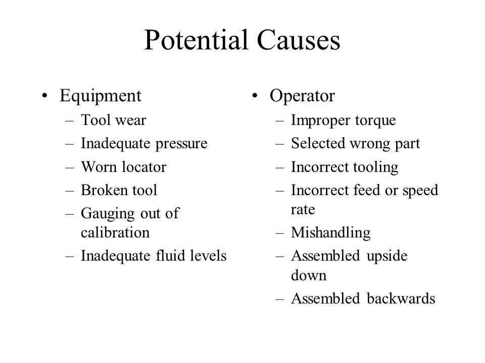 Potential Causes Equipment Operator Tool wear Inadequate pressure