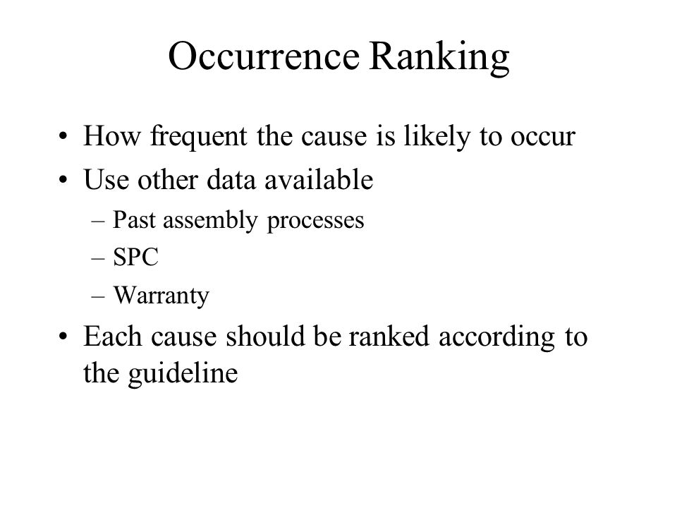 Occurrence Ranking How frequent the cause is likely to occur