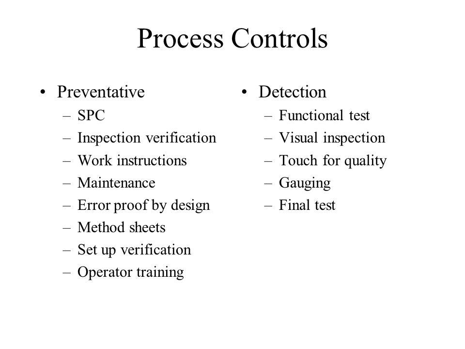 Process Controls Preventative Detection SPC Inspection verification