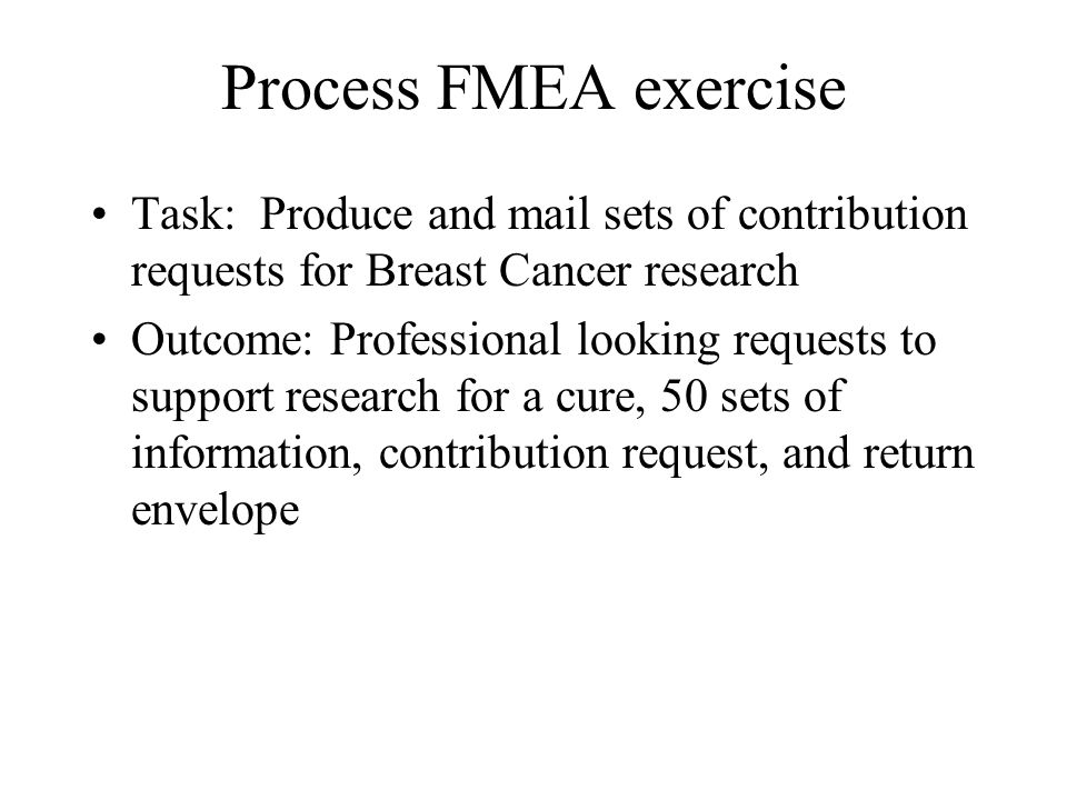 Process FMEA exercise Task: Produce and mail sets of contribution requests for Breast Cancer research.