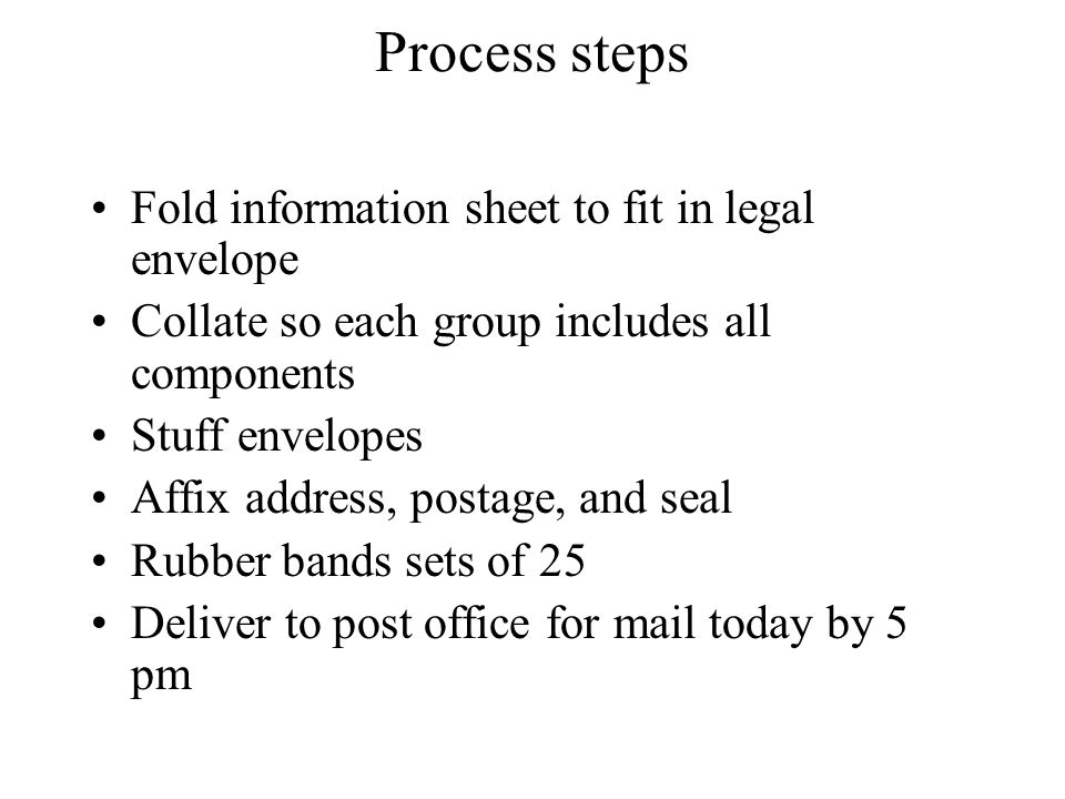 Process steps Fold information sheet to fit in legal envelope