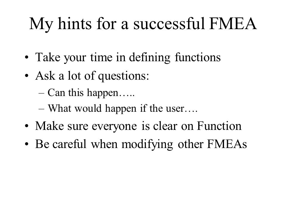 My hints for a successful FMEA