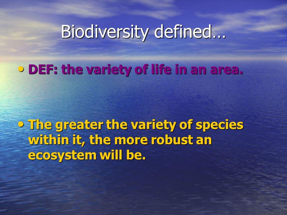 Biodiversity defined…