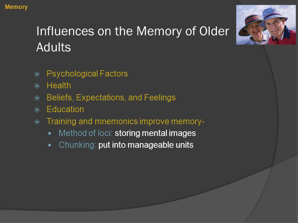 Influences on the Memory of Older Adults