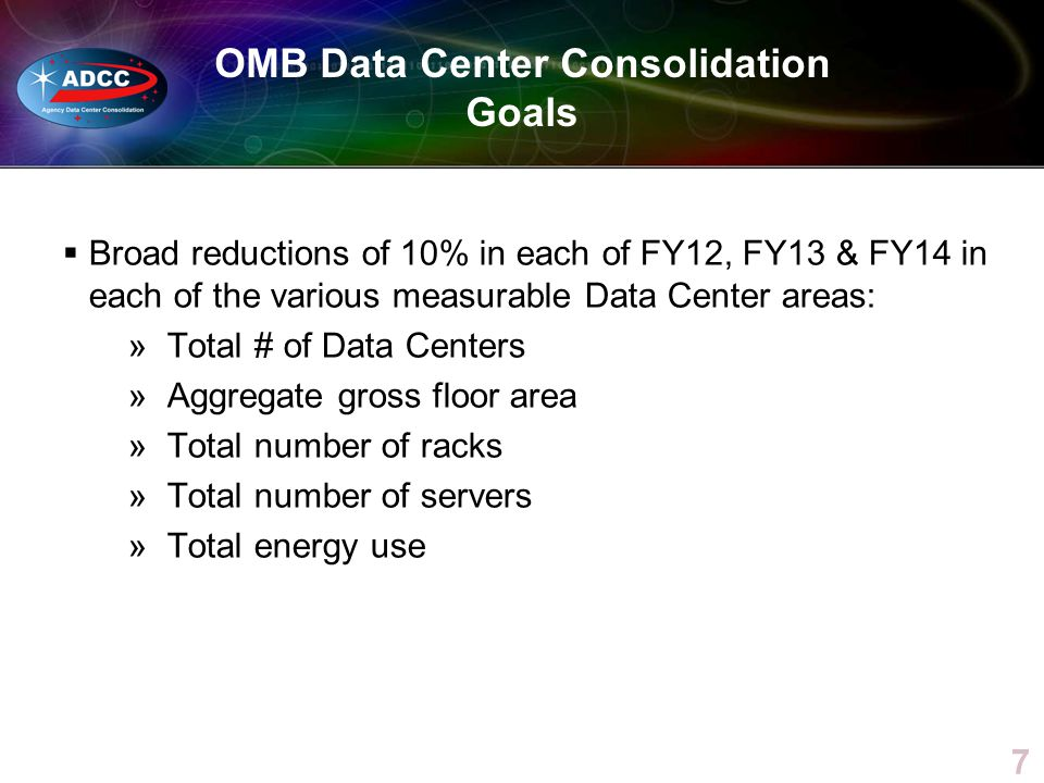 OMB Data Center Consolidation Goals