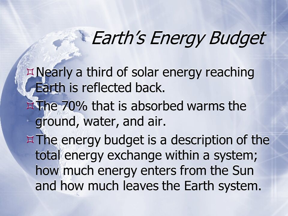 Earth's Energy Budget Nearly a third of solar energy reaching Earth is reflected back. The 70% that is absorbed warms the ground, water, and air.