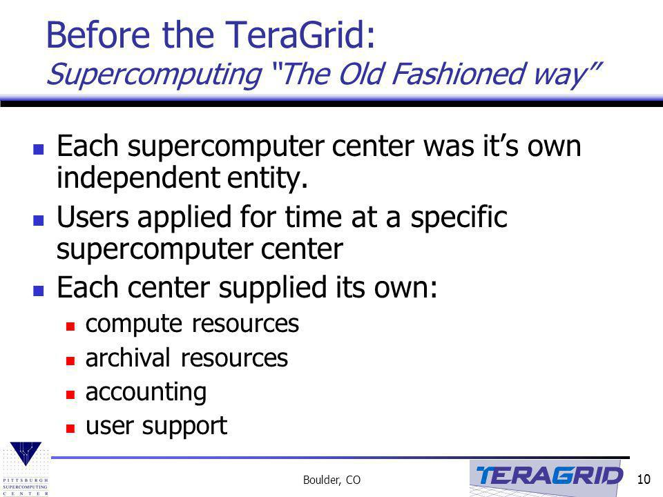 Before the TeraGrid: Supercomputing The Old Fashioned way