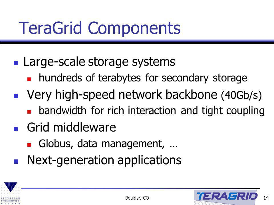 TeraGrid Components Large-scale storage systems