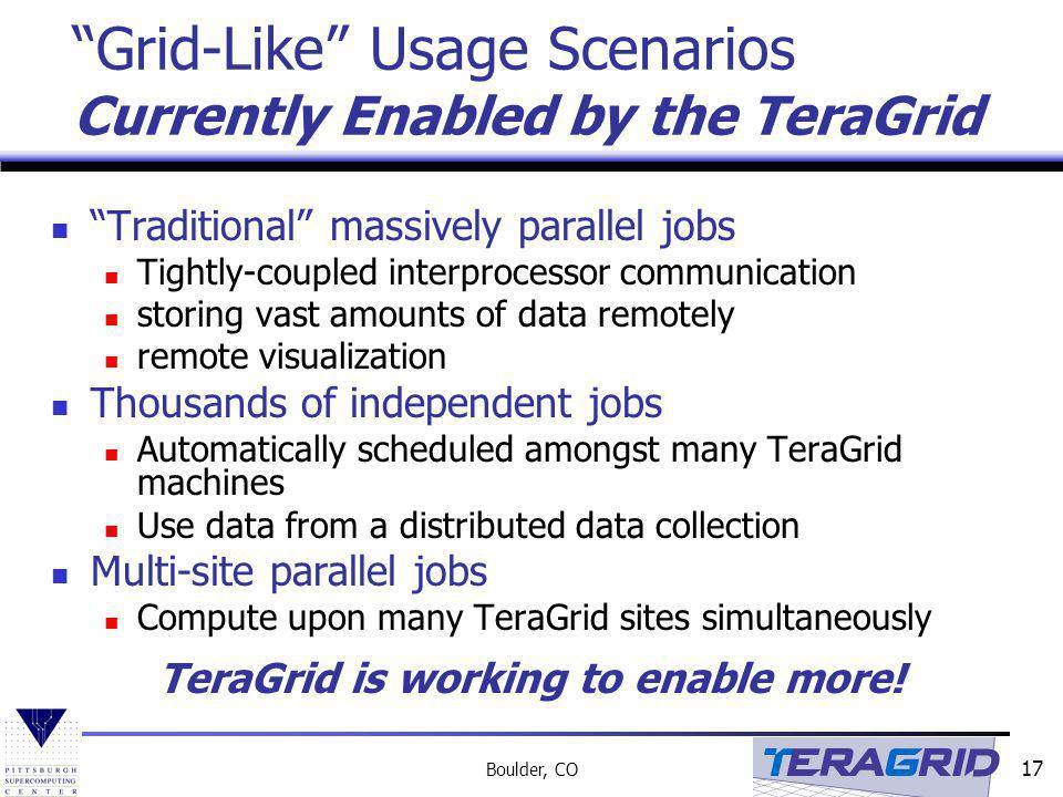 Grid-Like Usage Scenarios Currently Enabled by the TeraGrid