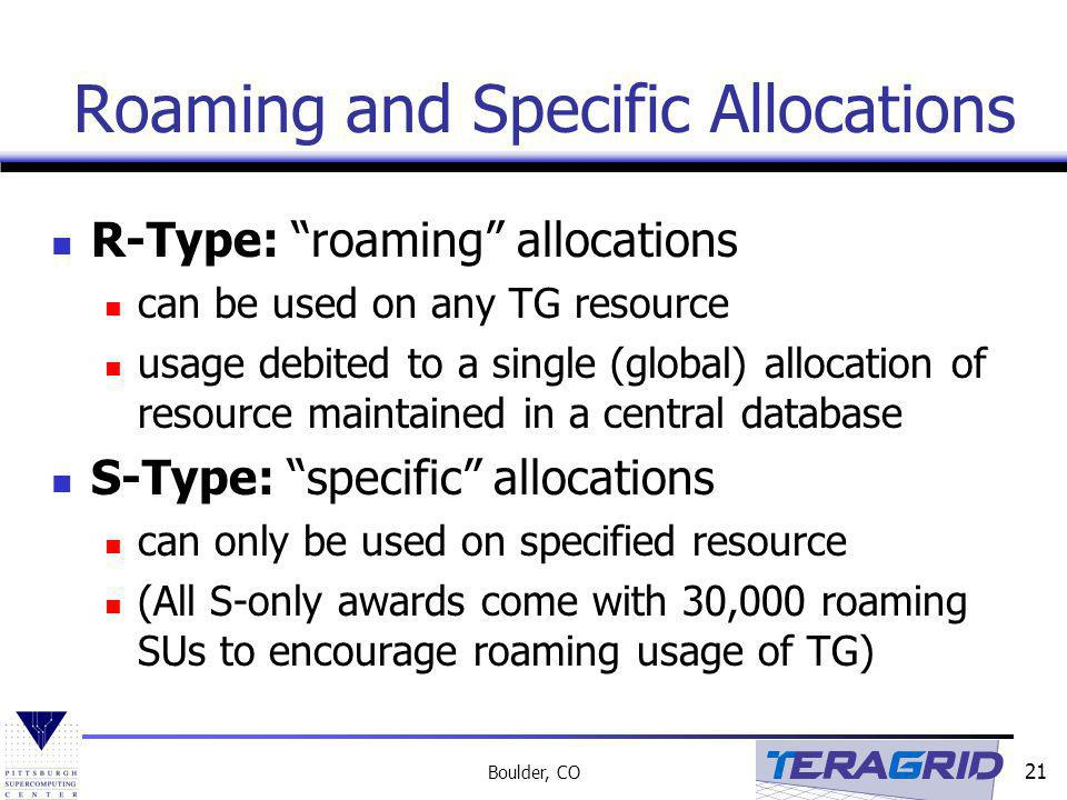 Roaming and Specific Allocations