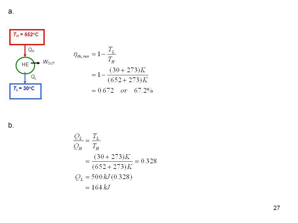 a. QL WOUT QH TH = 652oC TL = 30oC HE b.