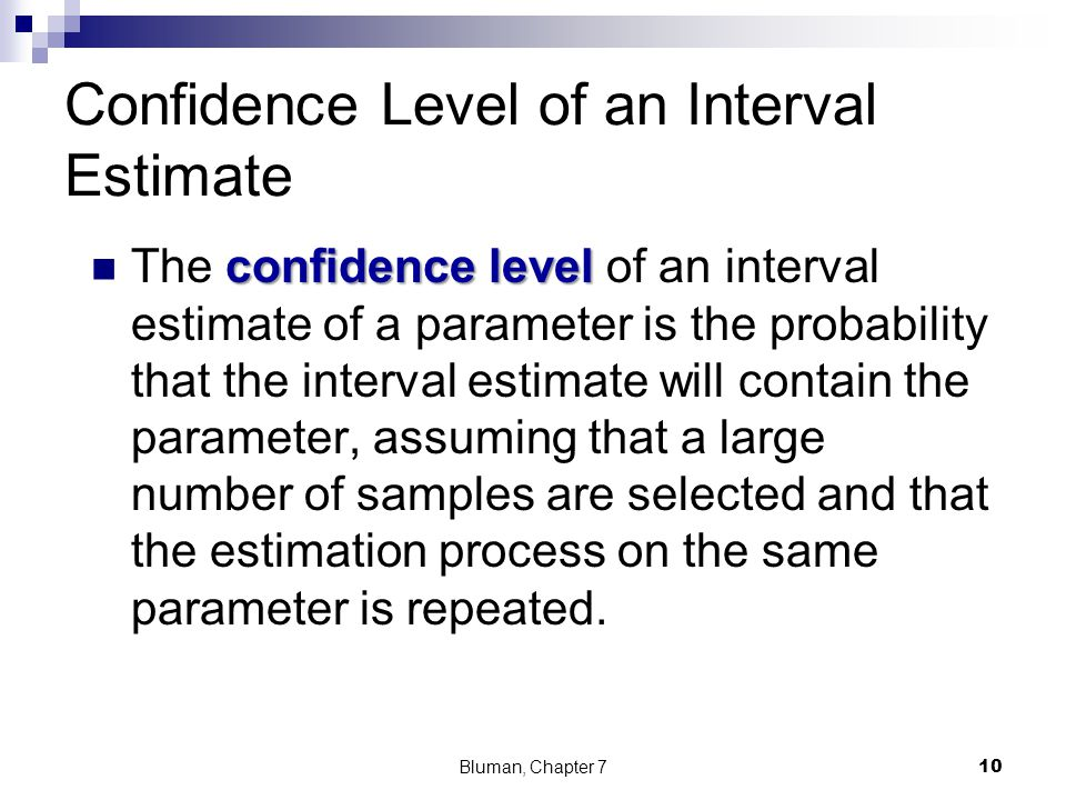 Confidence Level of an Interval Estimate