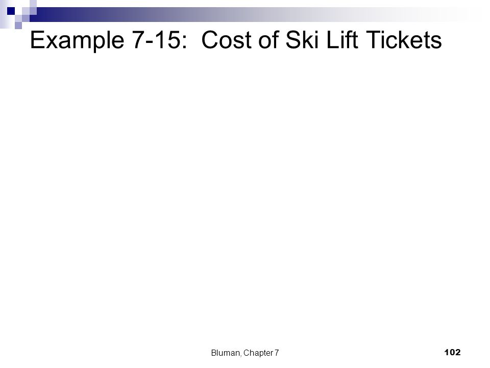 Example 7-15: Cost of Ski Lift Tickets