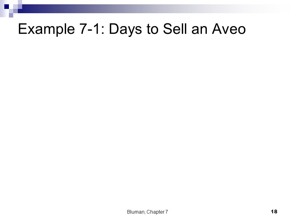 Example 7-1: Days to Sell an Aveo