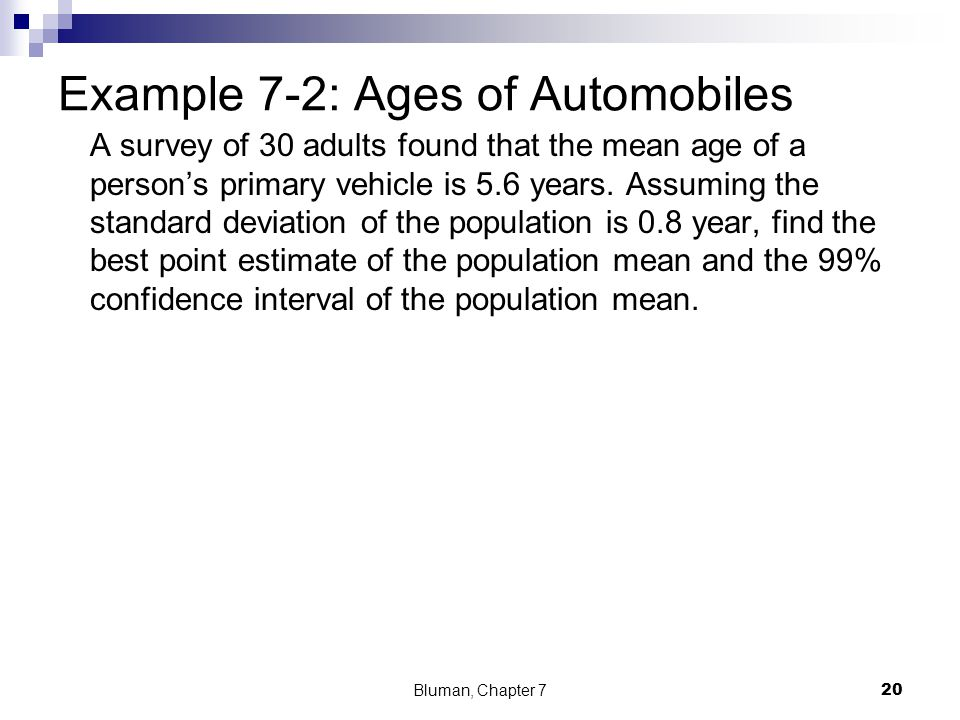 Example 7-2: Ages of Automobiles