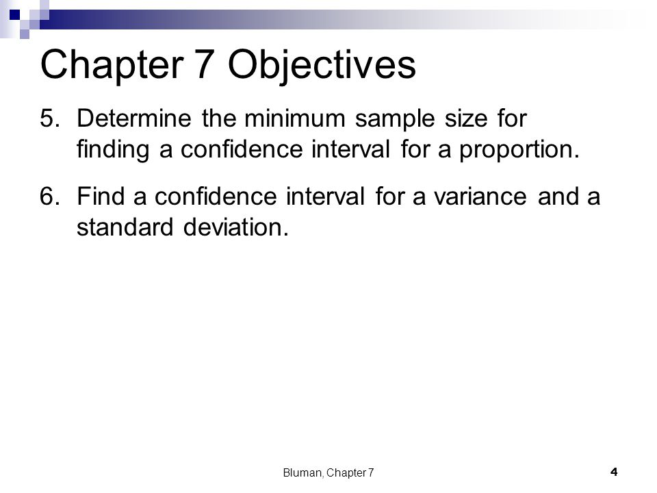 Chapter 7 Objectives Determine the minimum sample size for finding a confidence interval for a proportion.