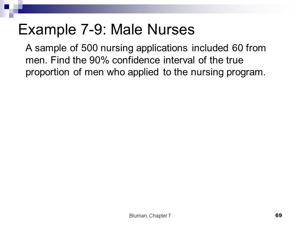 Example 7-9: Male Nurses