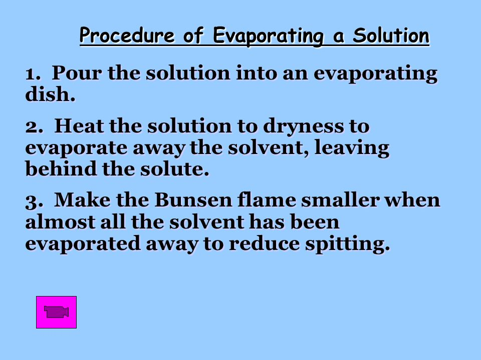 Procedure of Evaporating a Solution