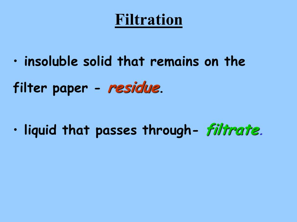 Filtration insoluble solid that remains on the filter paper - residue.