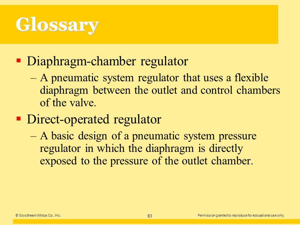 Glossary Diaphragm-chamber regulator Direct-operated regulator