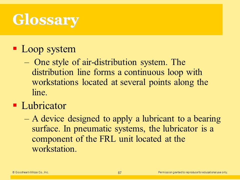 Glossary Loop system Lubricator