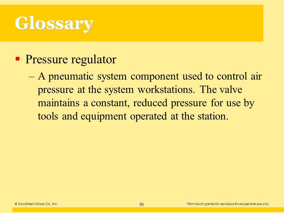 Glossary Pressure regulator