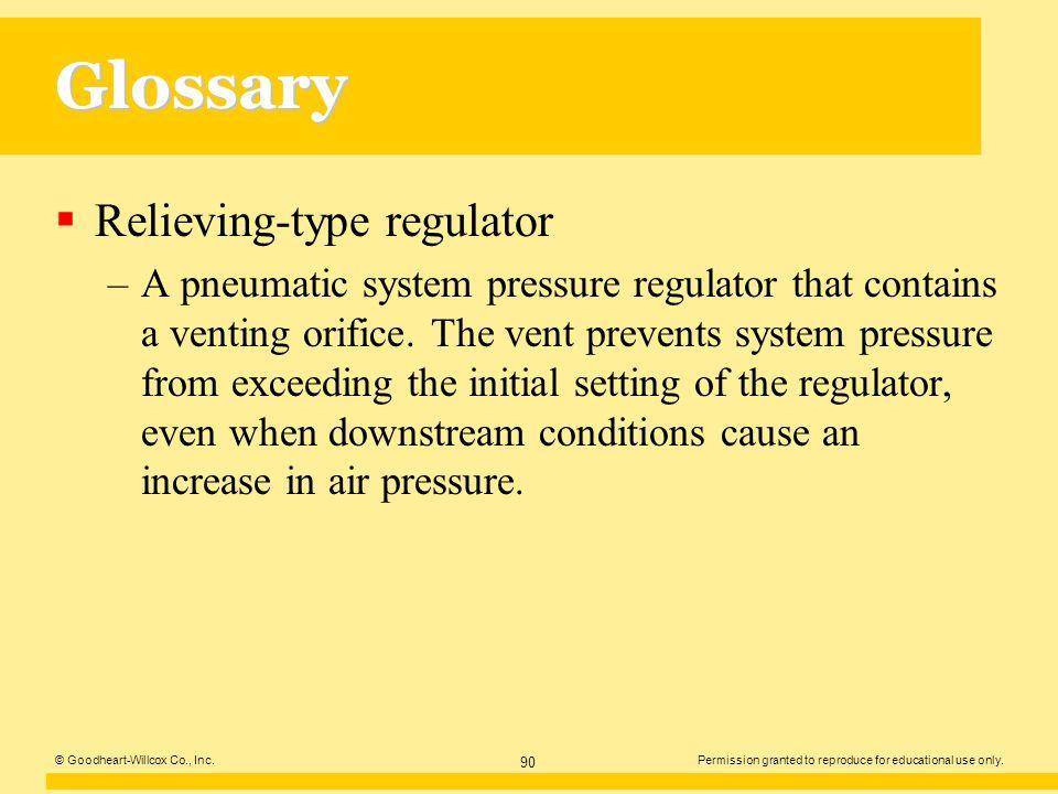 Glossary Relieving-type regulator