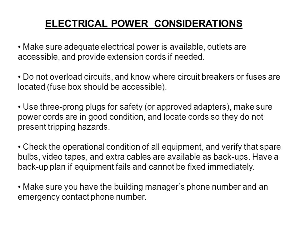 ELECTRICAL POWER CONSIDERATIONS