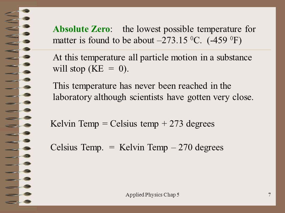 Kelvin Temp = Celsius temp + 273 degrees