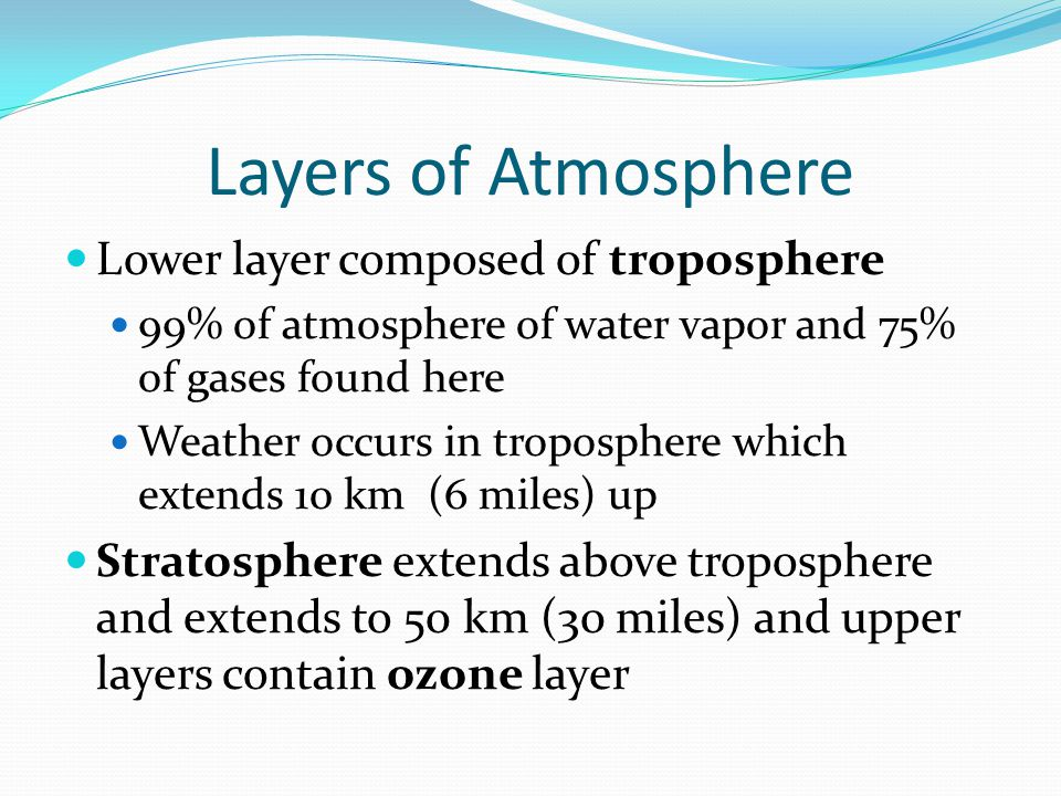 Layers of Atmosphere Lower layer composed of troposphere