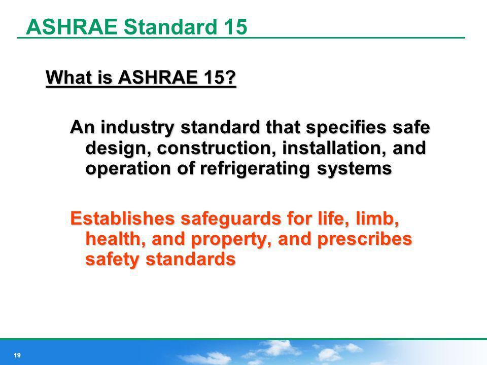 ASHRAE Standard 15 What is ASHRAE 15