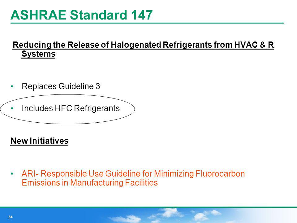 ASHRAE Standard 147 Reducing the Release of Halogenated Refrigerants from HVAC & R Systems. Replaces Guideline 3.