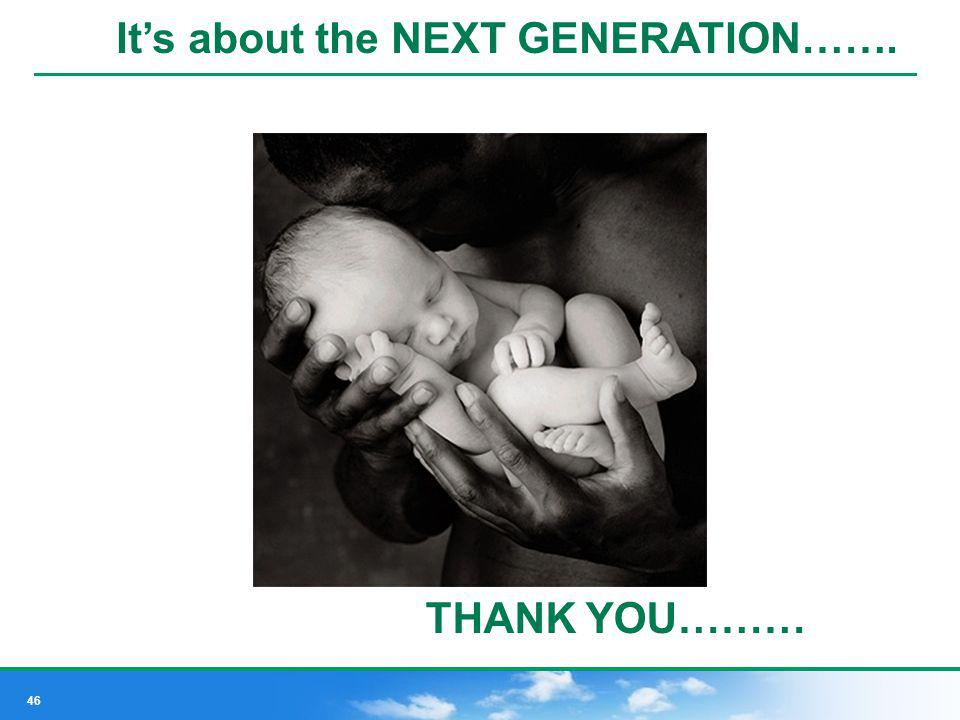 It's about the NEXT GENERATION…….