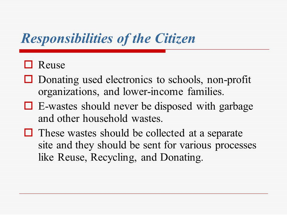 Responsibilities of the Citizen