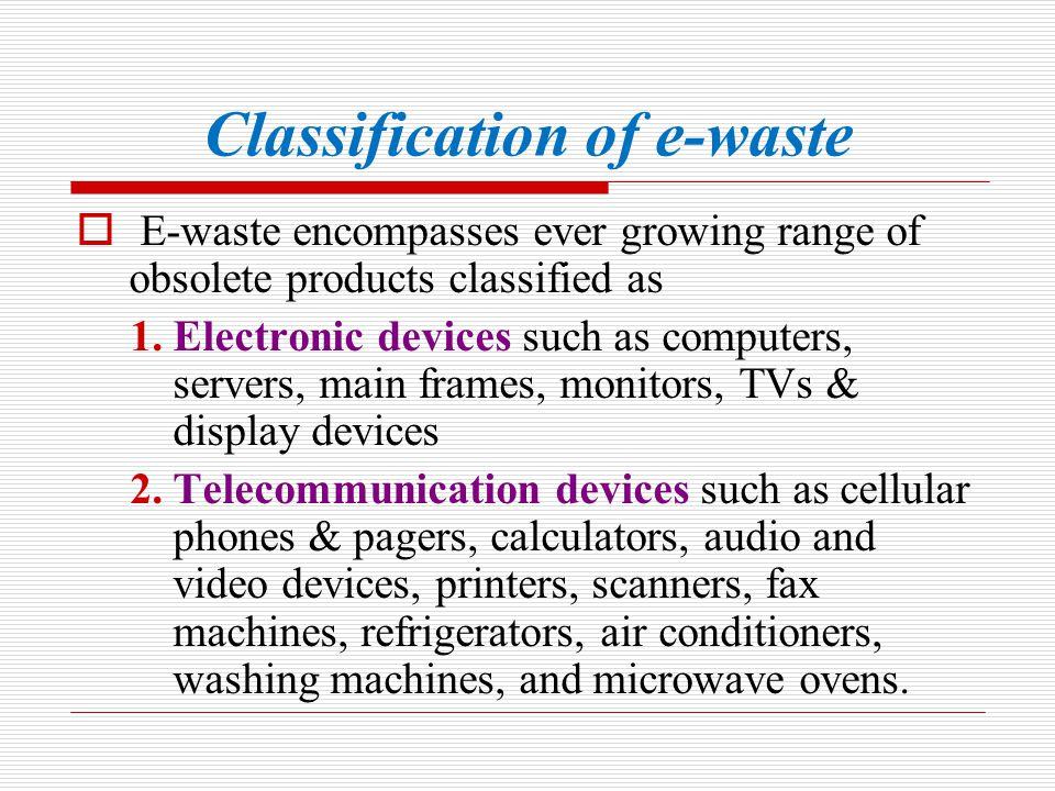 Classification of e-waste