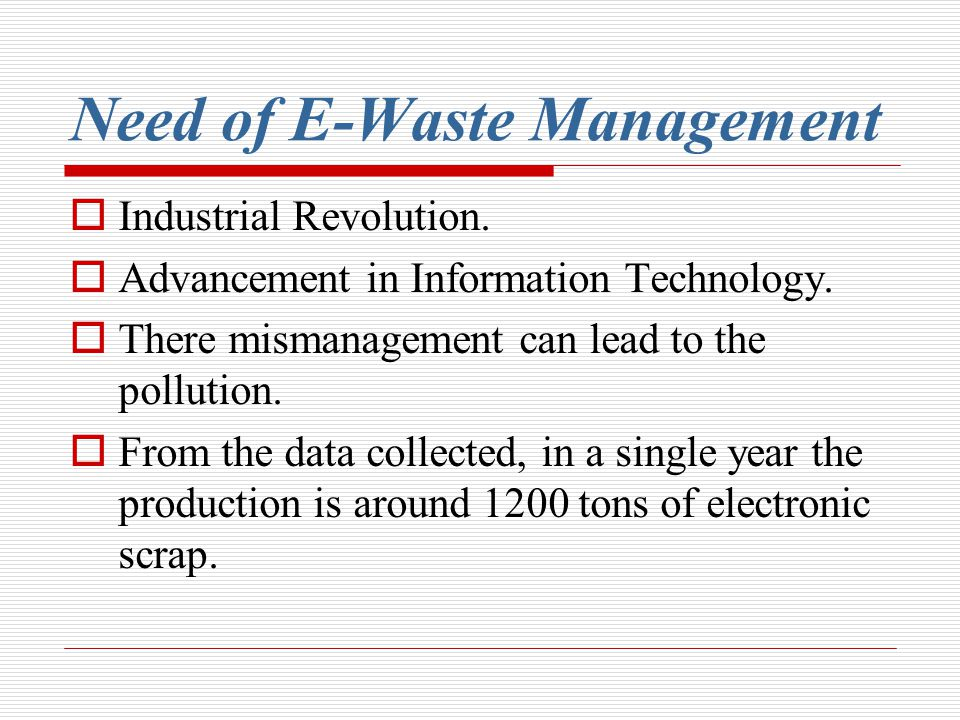 Need of E-Waste Management