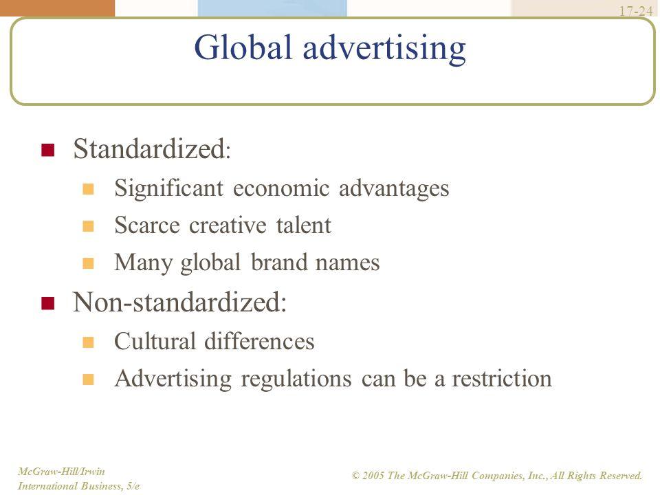 Global advertising Standardized: Non-standardized:
