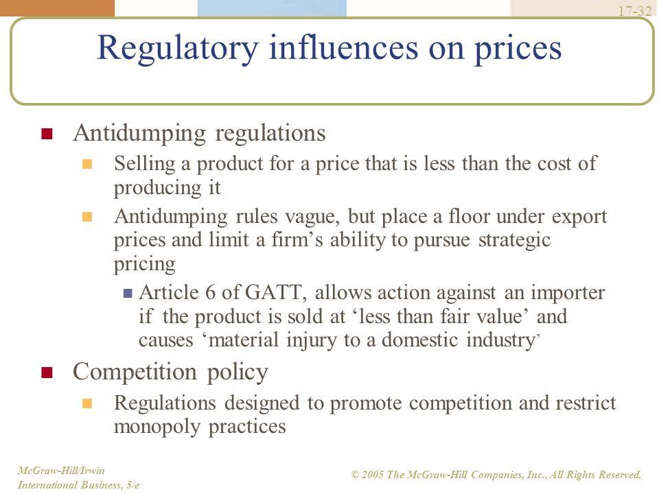Regulatory influences on prices