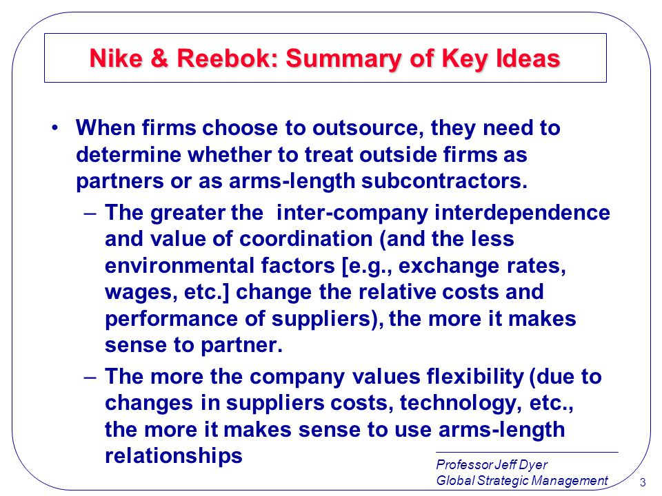 Nike & Reebok: Summary of Key Ideas