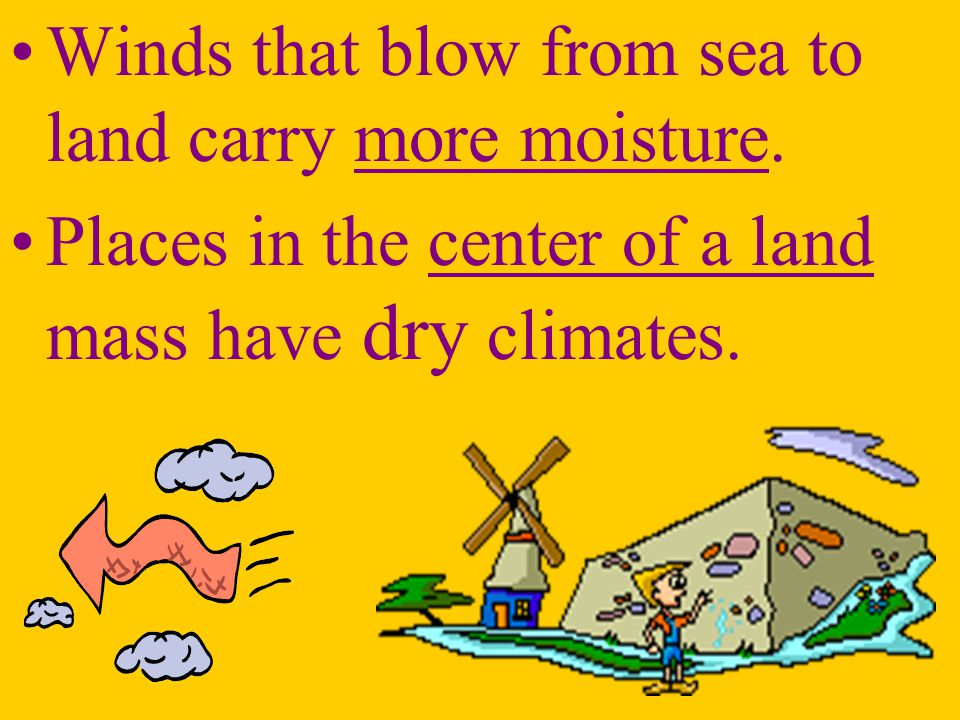 Winds that blow from sea to land carry more moisture.