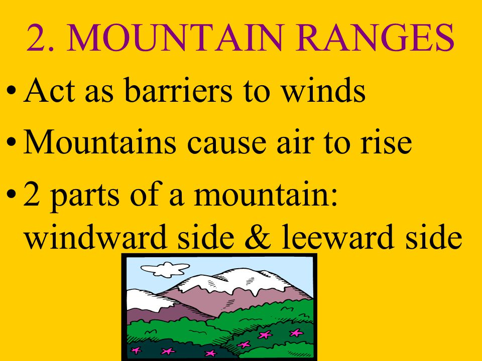 2. MOUNTAIN RANGES Act as barriers to winds