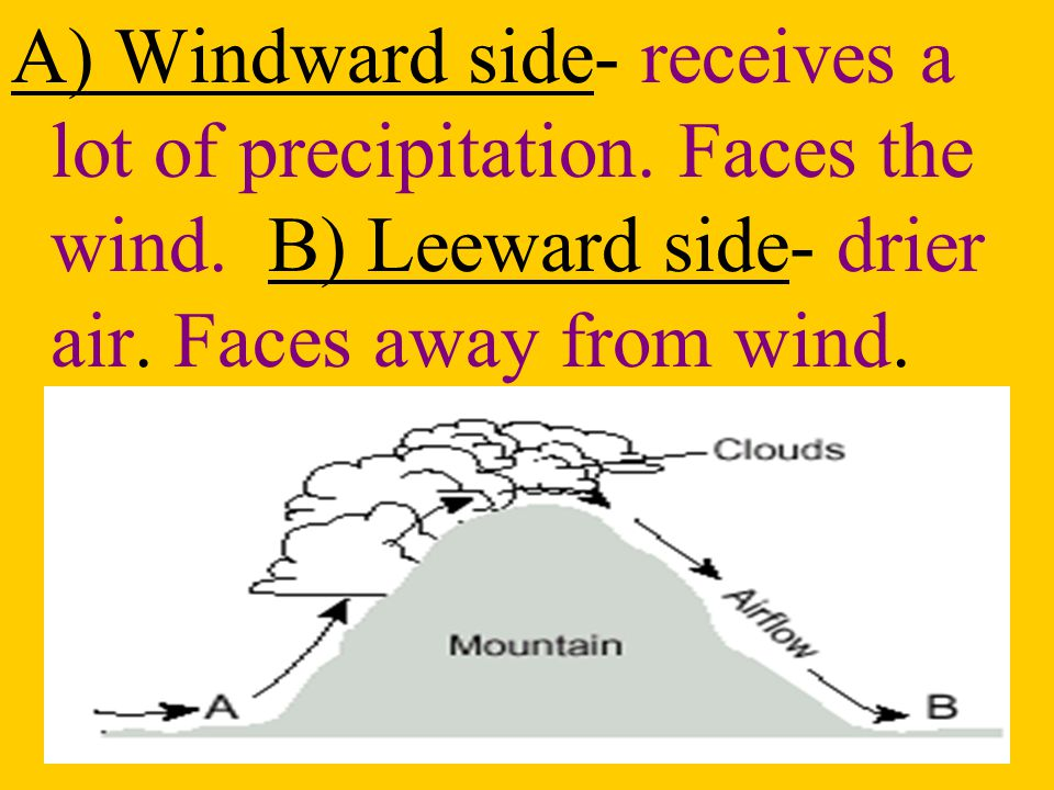 A) Windward side- receives a lot of precipitation. Faces the wind