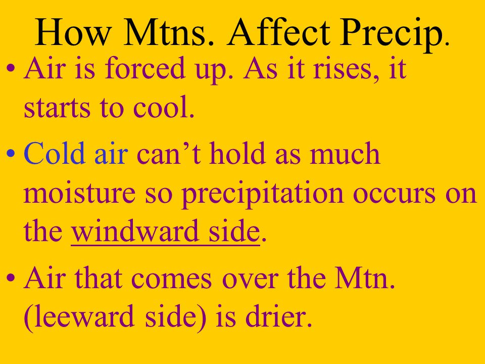 How Mtns. Affect Precip. Air is forced up. As it rises, it starts to cool.