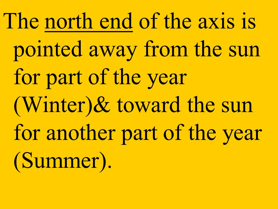The north end of the axis is pointed away from the sun for part of the year (Winter)& toward the sun for another part of the year (Summer).