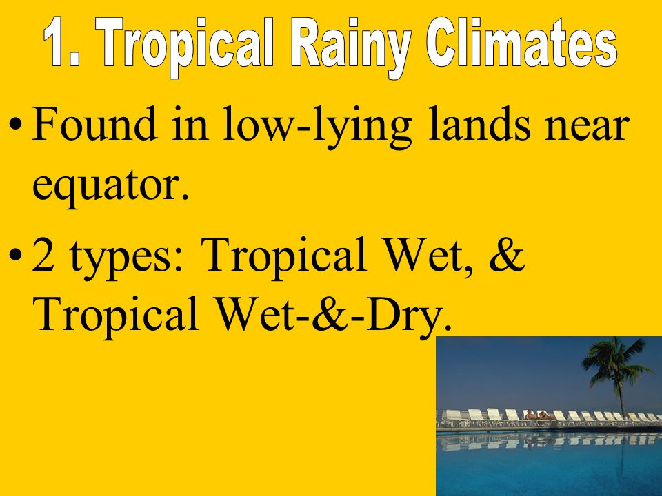 1. Tropical Rainy Climates